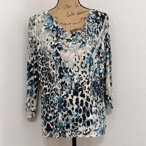 Carol Rose• Abstract print, draped neckline•Med.